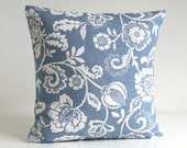 Blue Pillow Cover, Shabby Chic, Pillowcase, Throw Pillow Cover, Accent Pillows, Flower Pillow, Pillow Sham - Tapestry Flowers Blue