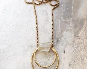 C R E S C E N T   Hand formed Crescent Moon Gemstone Pendant