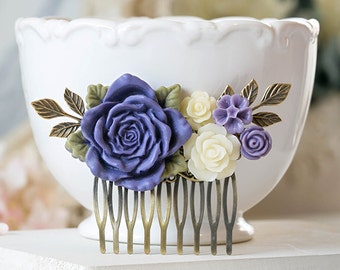 Purple Wedding Hair Accessory Bridal Hair Comb Large Purple Rose Ivory Flowers Collage Hair Comb Leaf Branch Hair Comb Bridesmaid Gift