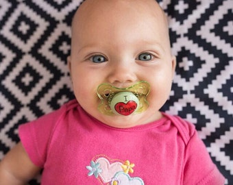"""Personalized I Love """"Papa"""" in Your Heart Custom Hand Painted Pacifier by PiquantDesigns"""