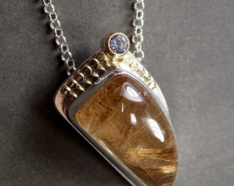 Golden Rutilated Quartz, White Sapphire, Sterling Silver & 14K Gold Necklace