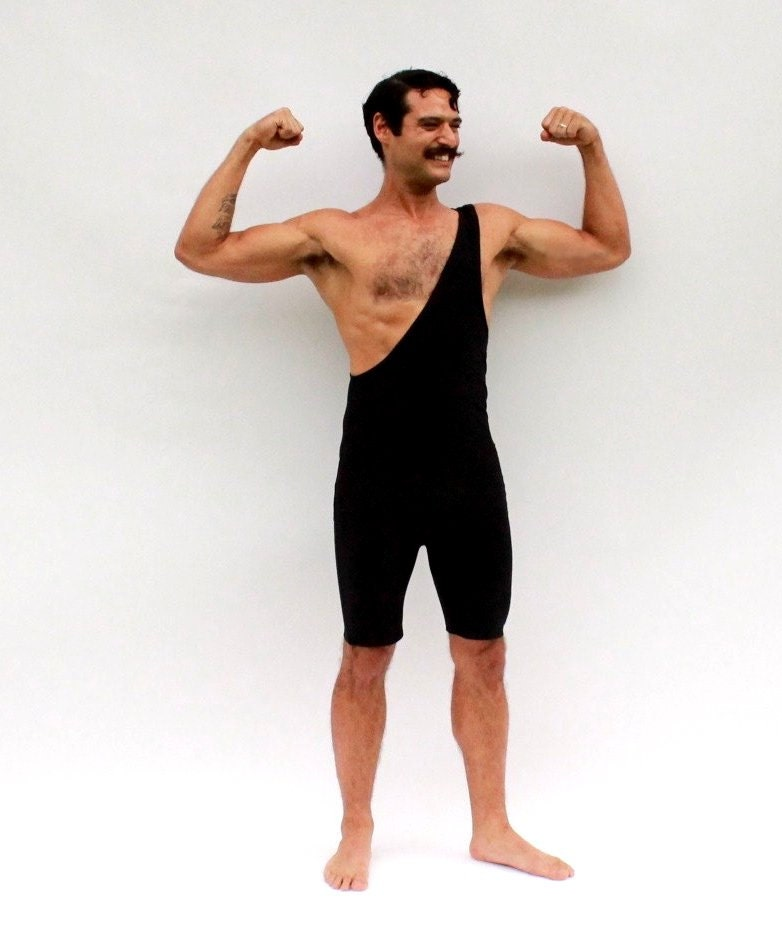 Strongman Costume Wrestling Singlet Men's Black Single