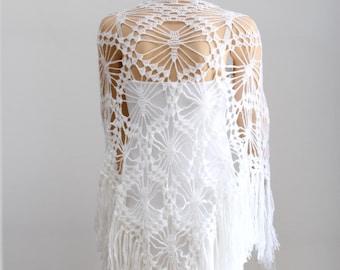 White shawl Lace white shawl Wrap shawl Crocheted shawl Wraps shawls Wedding shawl White scarf Lace Crochet Shawl Women's Accessories