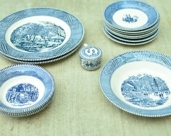 Vintage Royal China Jeannette Corporation Blue and White Currier and Ives Accessories Ceramic Dinnerware 14 Misc. Pieces