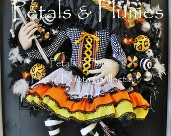 "PRE-ORDER for ""2016""Delivery-Halloween Wreath- The Original ""Flying Candy Corn Witch Wreath"" Petals & Plumes ORIGINAL Design-54"" Tall"