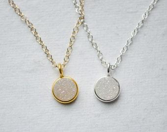 Tiny Druzy Necklace   White Rainbow Druzy   Dainty Silver or Gold Necklace   Minimalist Jewelry   Drusy Charm   Everyday Gifts for Her
