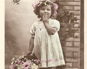 Beautiful Little Curly Haired Girl Blowing a Kiss Antique French Postcard Tinted Photo Post Card RPPC from Vintage Paper Attic