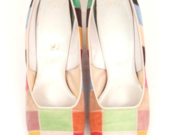 1960s square toe heels // patchwork suede // size 7.5B