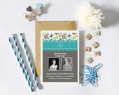 Personalized - Marley Style - 60th Birthday or Any Age - Photo Invite Gold, Teal and Grey Floral - Invitation, Custom Printable