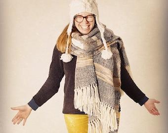 White Knit Wool Hat, Pom Pom Ear warmers, Ecru Undyed Merino Winter Autumn Beanie, Bobble hat pompom, Holidays gifts