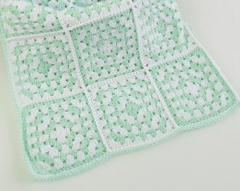 Crochet Baby Blanket Granny Square, 36x36 Blanket, Two Colors Baby Blanket, Baby Blanket Newborn