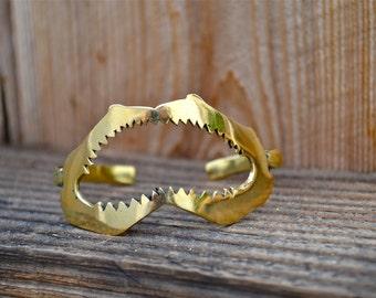 The Bite Me Cuff | Heart Majestic | Shark Cuff | Shark Jewelry | Jaws Cuff | Fish Bone Jewelry | Mermaid Cuff | Jaws gifts | Gold cuff