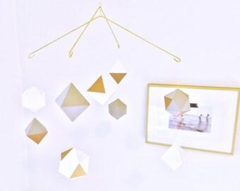multi-layered geometric mobile - baby mobile - nursery mobile - gray white