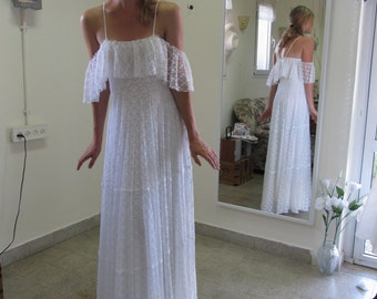 Wedding Dress Boho Wedding Dress Bohemian Wedding Dress 70s Wedding Dress Simple Wedding Dress Paulastudio Wedding Dress