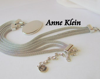 Modernist Anne Klein Designer Signed Statement Necklace / Silver Chrome Finish / Multiple Snake Chains / Jewelry / Jewellery