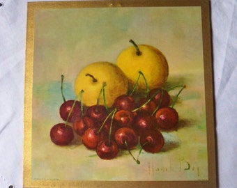 Apples and Cherries Still Life Trivet, Henk Bos Lithograph Wall Hanging, Donald Art Co Print