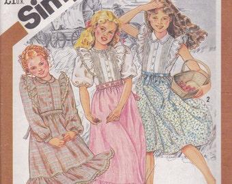 Girls' Prairie Style Dress Pattern Simplicity 5594 Size 7
