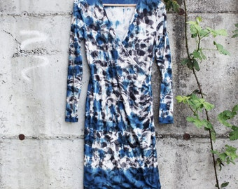 Indigo city dress, size S, hand dyed indigo dress, Shibori dyed knit dress