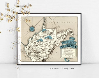 WEST VIRGINIA MAP - Instant Digital Download - printable state map for framing, totes, pillows, cards, weddings - vintage pictorial map art