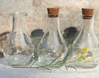 10 Corked Glass Bottles 2 Oz 3 Inches Tall Empty Bottles Wedding Favor Bottle Drink Me Bottle Baptism Favor Holy Water Bottle Corked Bottles