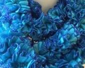 Boa Ruffled Scarf Blue Azure Peacock Cerulean Turquoise