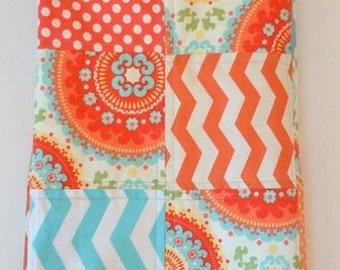 Modern Baby Quilt-Chevron-Bohemian-Aqua-Orange-Coral-Girl-Baby Girl Bedding-Crib Blanket-Cot-Cradle-Nursery-Floral-Trendy-Handmade