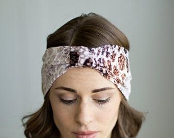 Beige, White, Black, Brown, Neutral Snakeskin Bow Headband, Head Wrap, Hair Accessory, Jersey Knit