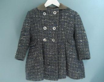 Stunning vintage girls coat - tweed and corduroy - 3T - 4T