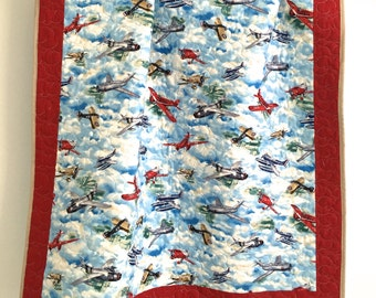 Baby Boy Quilt with Wingman Military Vintage Planes from Smithsonian Institution for Quilting Treasures Blue Grey Tan White Red