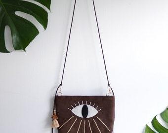 I'll Be Watching You - eye see you dark brown shoulder bag. Eye embroidery handbag. Ready to ship