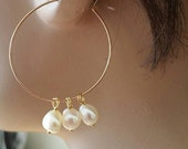 Gold Fill Hoop Earrings - White Freshwater Pearl, Handmade Earrings, Gold Jewelry, Gift for Her, Bridesmaid Gifts