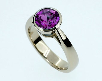 Amethyst ring, white gold, engagement ring, purple, solitaire, amethyst engagement, bezel, violet, unique, cathedral ring, purple engagement