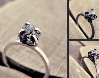 Black diamond ring, Raw diamond ring, raw black diamond ring, promise ring, engagement ring, raw stone, raw diamond ring, rough diamond