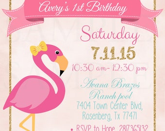 Pink Flamingo Pool Party Birthday Invitation - Printable File