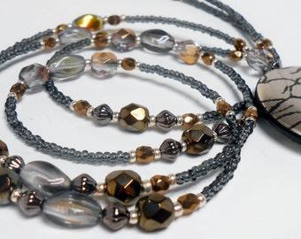Contemporary Beaded Id Lanyard, Beaded ID Badge Holder, Beaded Lanyard, ID Necklace, Id Necklace, Beaded Badge Lanyard, LY11155