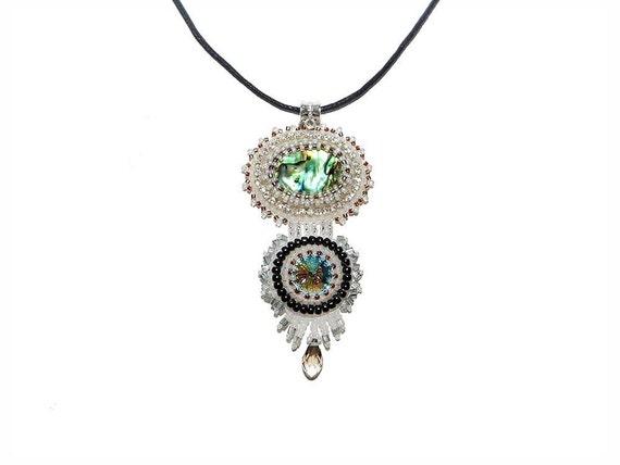 Paua (Abalone) Shell and Swarovski Rivoli Bead Embroidered Pendant Necklace. Statement Necklace Soutache Jewelry