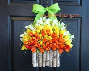 spring wreath summer wreath front door wreaths Mother's Day gift-welcome summer wreaths, home decor