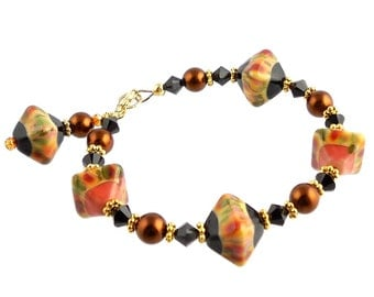 Orange and Black Beaded Crystal Lampwork Bracelet, Art Glass Bracelet, Fashion Jewelry, Fashion Accessories, Fall Jewelry, Summer Jewelry