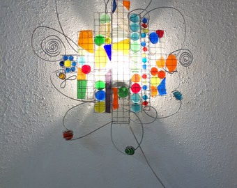 Colorful Wall lamp, recycle glass,  red,  green, yellow, blue, orange, happy Children lamp
