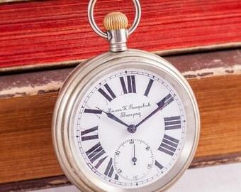 Eterna pocket watch,swiss pocket watch,railway pocket watch,military pocket watch,antique pocket watch,steel pocket watch,mens pocket watch