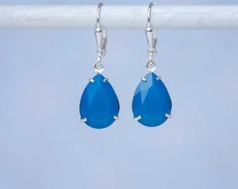 Blue Earrings, Swarovski Earrings, Caribbean Blue Opal Swarovski Earrings