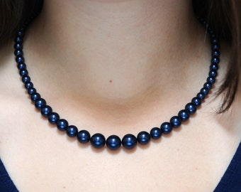 Dark Navy Blue Pearl Necklace - Graduated Swarovski Crystal Pearl Necklace - 18 Inch Necklace
