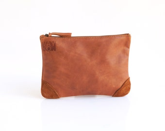 Light Brown Leather clutch - Leather makeup bag - Handmade Leather pouch -  Cosmetic bag
