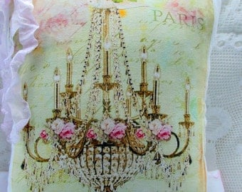 Pink Roses CHANDELIER Pillow, Paris, French, Carte Postale, Shabby Chandelier, Shabby Roses Pillow  #C75