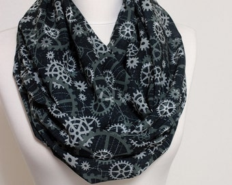 Black Mechanics Infinity scarf, Loop scarf, Circle scarf, geek scarves, shawls, spring - fall - winter - summer fashion