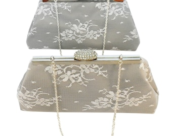 Bridesmaid Gift Clutch, Set Of Two Platinum Grey, White Lace And Silver Embroidered Bridal Clutches. Mother Of The Bride Gift, Gifts For her