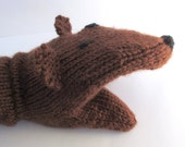 Hand Puppet Bear Hand Puppet Sock Puppet Hand Knit Dark Brown for Adult or Child Knit Bear