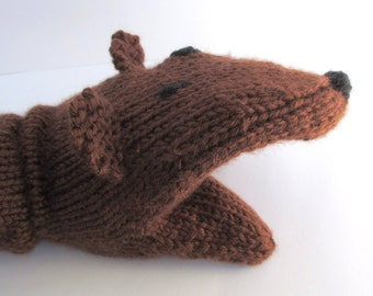 Hand Puppet Bear Hand Puppet Sock Puppet Hand Knit Dark Brown for Adult or Child Knit Bear