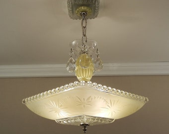 Vintage Chandelier American Art Deco YELLOW STARBURST CANDLEWICK Glass & Chrome Ceiling Light Lamp Rewired