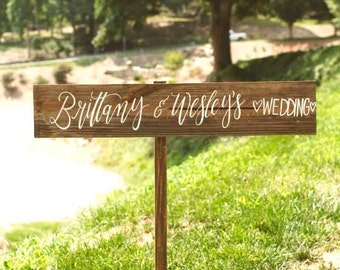 Rustic Personalized Wedding Sign, Directional Wedding Sign with Stake, Rustic Wedding Decor, Wooden Wedding Sign | 30x5.5
